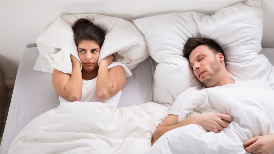 woman angered by husband snoring